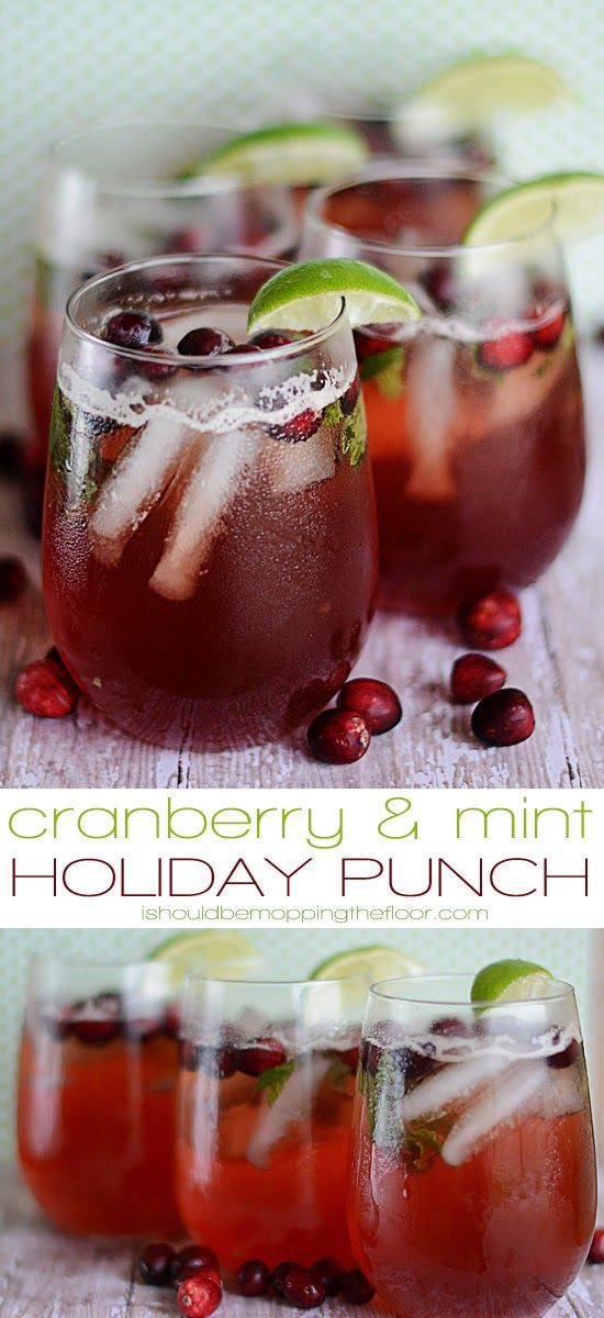 Cranberry and Mint Holiday Punch | Perfect for holiday dinners and gatherings.  Bigelow mint tea, fresh cranberries and soda.