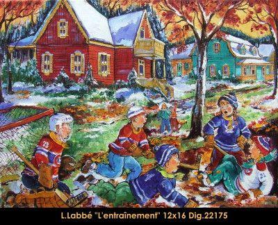 Original oil on canvas painting by Lise Labbé #labbe #artnaif #kidscharacters #winter #hockey #practice #canadianartist #quebecartist #originalpainting #balcondart #multiartltee