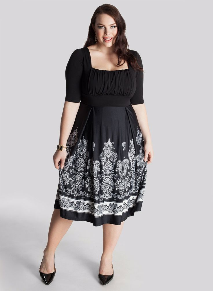 """Isis Plus Size Dress - Dresses by IGIGI Details      Square neck, draped bodice fits smaller to larger busts     Set-in sleeves end at the elbow     Silhouette-cinching 3"""" high-waistband     A-line skirt     Fully lined     Invisible side zipper  Color:  Black/Ivory Material:  Poly/Elastane Care:  Dry Clean Only Sku:  3A103CBLK"""