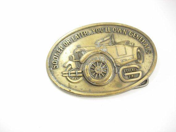 Vintage Bronze General Buckle Belt Large Tire by NeatstuffAntiques, $40.00