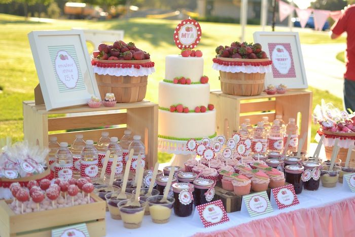 Strawberry Picnic Party with REALLY CUTE IDEAS via Kara's Party Ideas   The sweets table