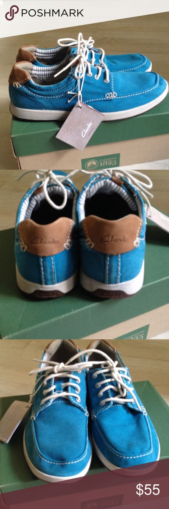 Men's Clarks teal canvas shoes size 9 M Brand new never worn men's Clarks shoes. Teal canvas with some leather detailing. Size 9 M. Clarks Shoes Sneakers