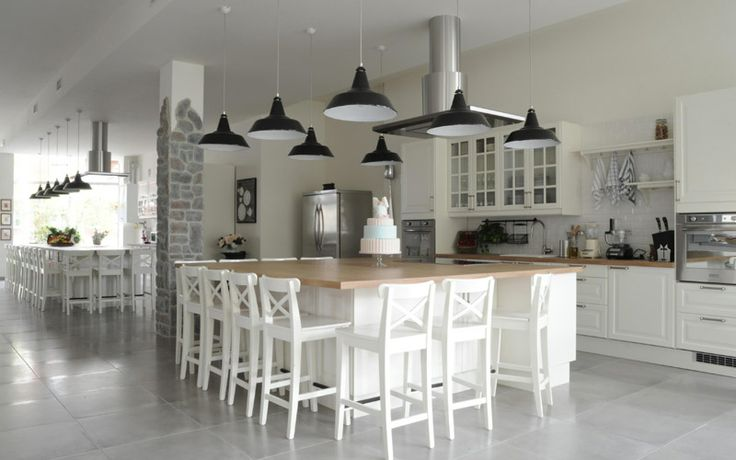 A nice shabby chic cooking school by Nomade Architettura http://www.nomadearchitettura.com/#all  white furniture, stone flooring, black industrial lighting