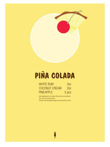 Pina Colada Cocktail Recipe Poster (Imperial) Art Print by Jazzy Phae