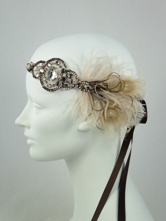 Flapper Peacock Feather Headband Bronze And Champagne Taupe BaroqueAndRoll on etsy