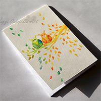 Bagolypár őszi színekben - jegyzetfüzet kézzel festve #festészet #design #akvarell