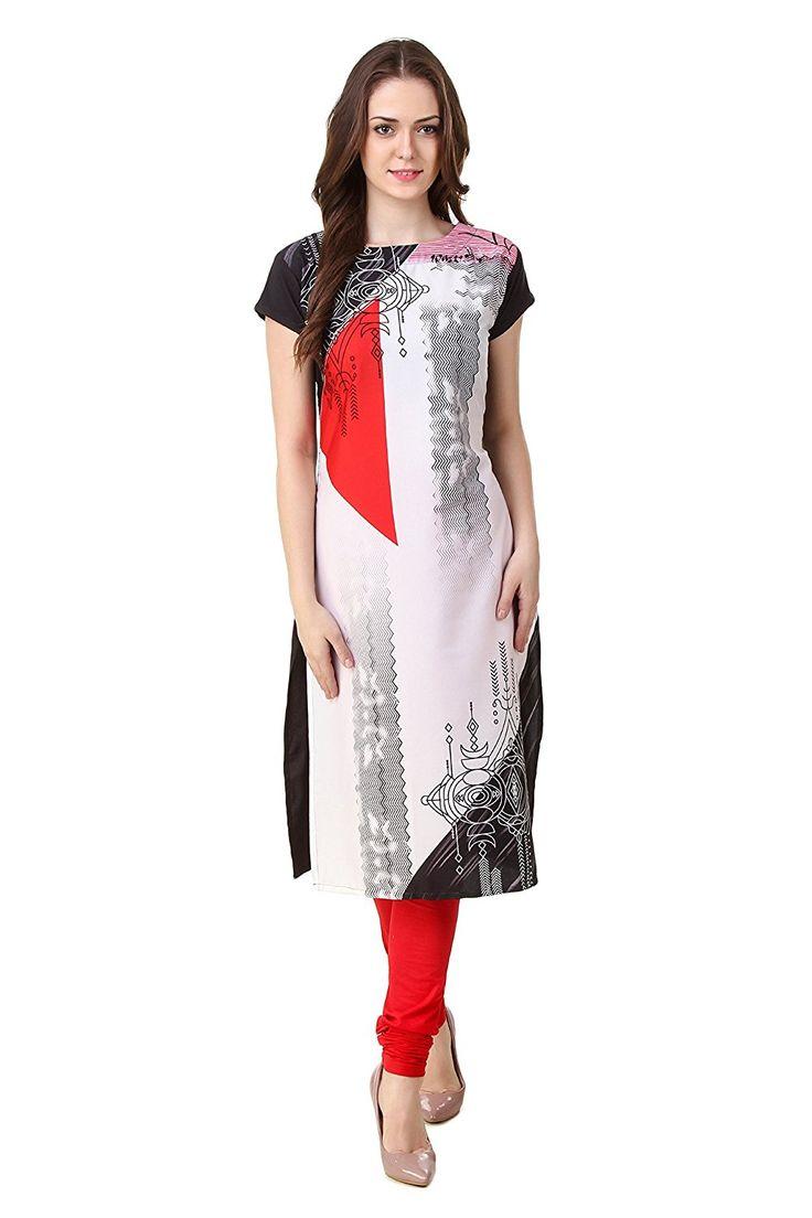Kapadewala Women's White Digital Printed Crepe Kurti