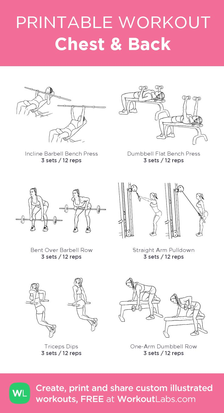 Chest & Back:my visual workout created at WorkoutLabs.com • Click through to customize and download as a FREE PDF! #customworkout