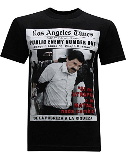 El Chapo Public Enemy Men's T-Shirt - M. Nowhere on the internet can you find such an awesome variety of funny t-shirts. All of our funny tees are made with high quality cotton and are extremely comfy to wear. Look good and make people laugh. Life is too short to not own funny shirts! Product Features  Super Fast Shipping! Made in the... http://geek-tshirts.com/el-chapo-public-enemy-mens-t-shirt-m/