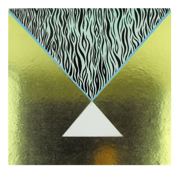 Geometric Gold Painting Panel mixed media Smoke by SketchInc.