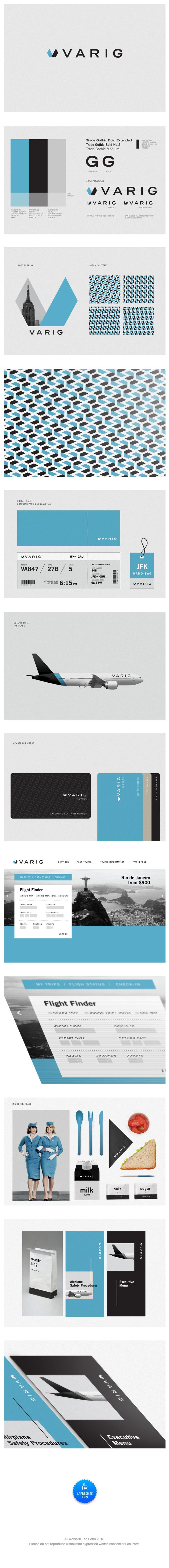 gorgeous. identity / Varig Redesign: Leo Porto #font - trade gothic Beautifully executed