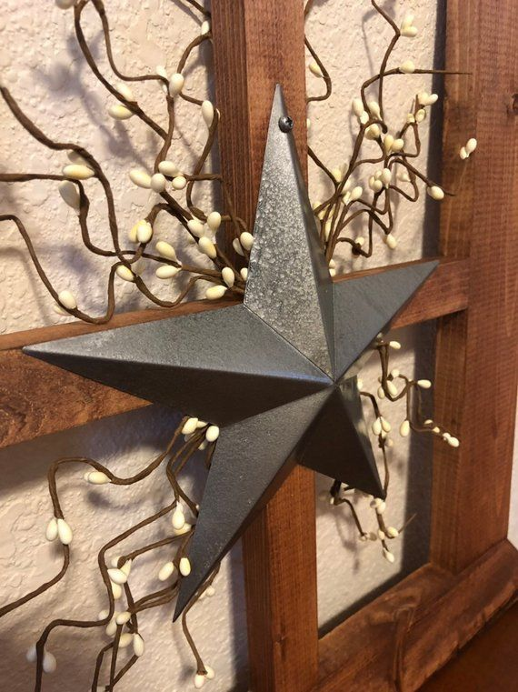 Rustic Primitive Wood Window Frame Farmhouse Wall Decor Primitive Star Large Wall Decor With Star And Pip Garland Wood Window Frame Farmhouse Wall Decor Primitive Wall Decor
