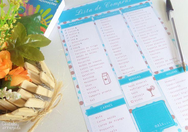 Lista de compras de supermercado para download - Casinha Arrumada