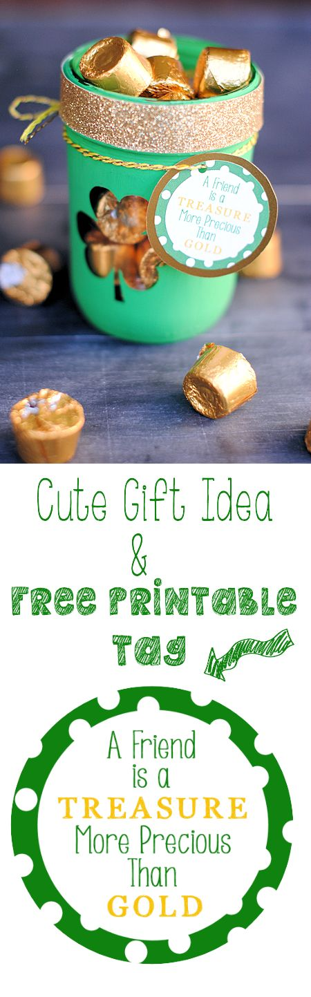 Cute St. Patrick's Day Gift Idea with Free Printable Tag {tag also available in other colors for other occasions}