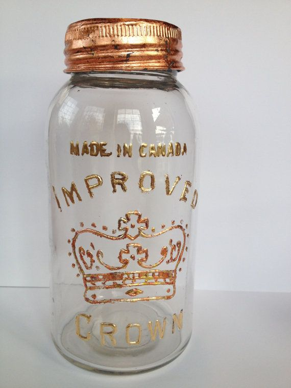 Vintage 'Made in Canada' Large Mason jar hand by OctoberandJuly, $50.00