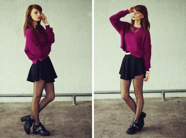 Fuchsia sweater. – Mademoiselle Kate #fetishpantyhose #pantyhosefetish #legs #heels #blogger #stiletto #pantyhose #collant #black