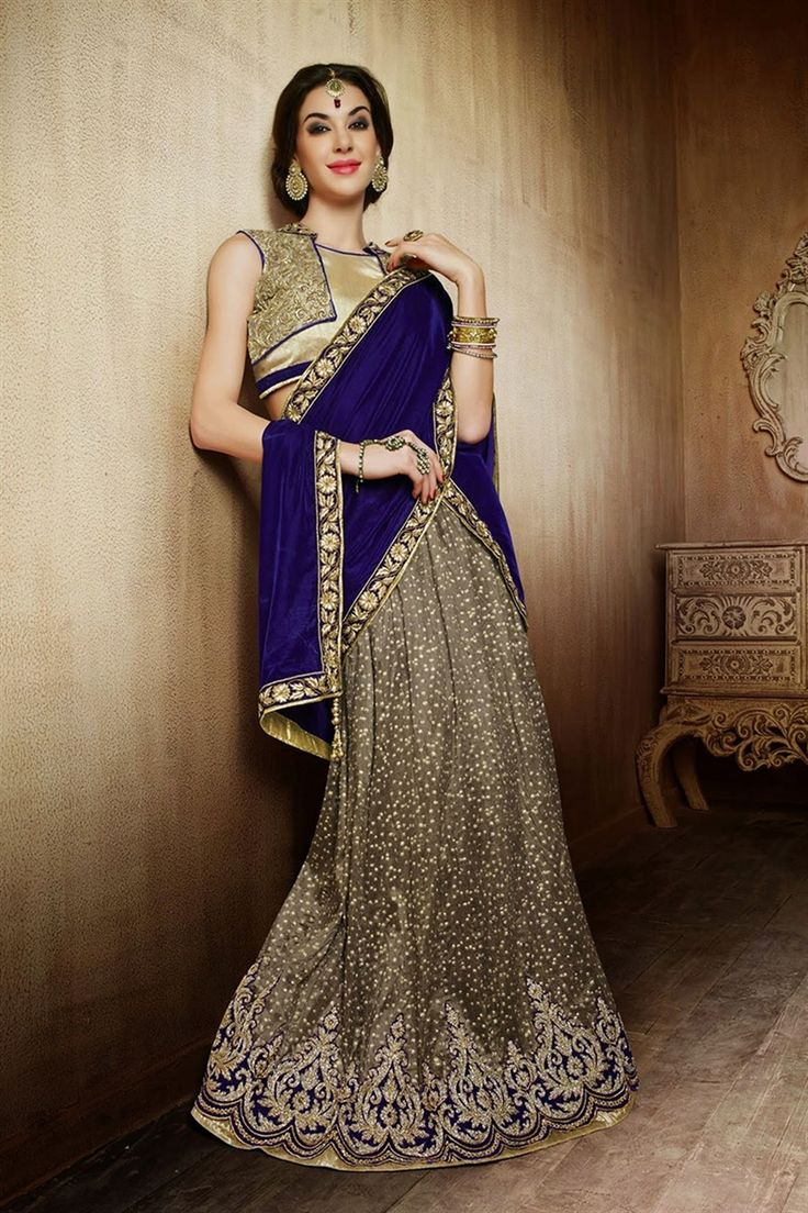 Wedding wear blue grey color lehenga choli indian for Indian wedding dresses for guests