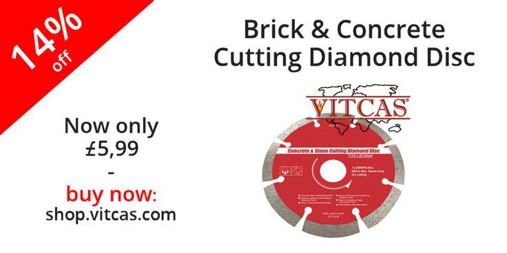 Brick & Concrete Cutting Diamond Disc now only £5.99. Buy now: http://shop.vitcas.com/brick--concrete-cutting-diamond-disc-1007-p.asp