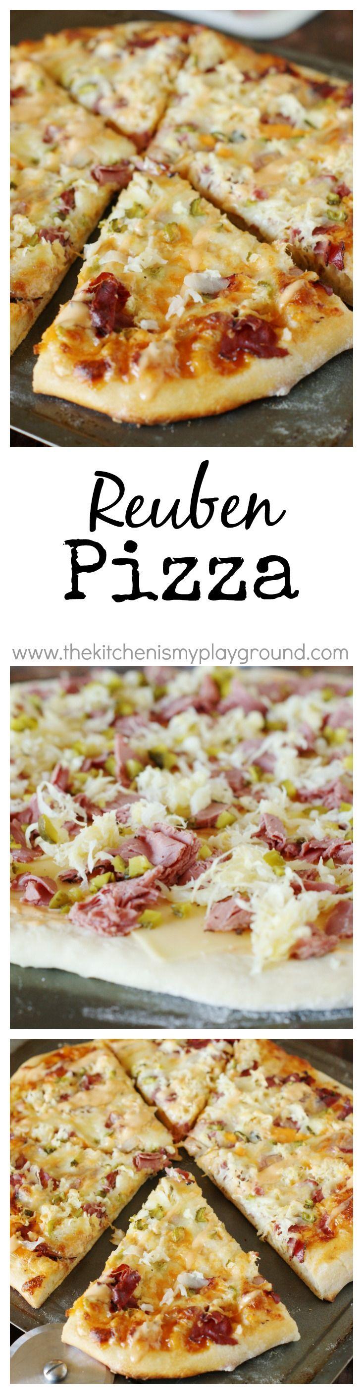 Reuben Pizza ~ enjoy the wonderful flavors of the classic-favorite Reuben sandwich in scrumptious pizza form!   www.thekitchenismyplayground.com