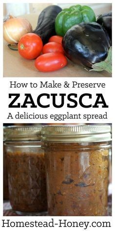 Zacusca is a delicious way to preserve an abundance of eggplant and other summer vegetables to enjoy as a spread or dip all winter long! | Homestead Honey
