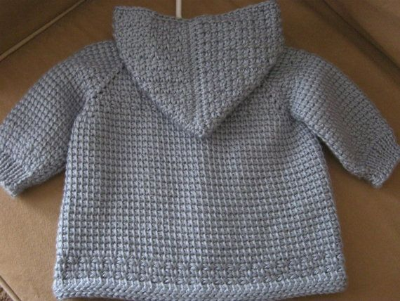Blue Crochet Baby Boy Sweater with Hood. 06 by ForBabyCreations