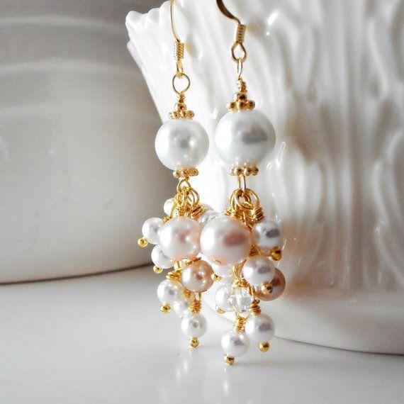 Bridal Jewelry Pearl Cluster Beaded Earrings by FiveLittleGems, $19.00