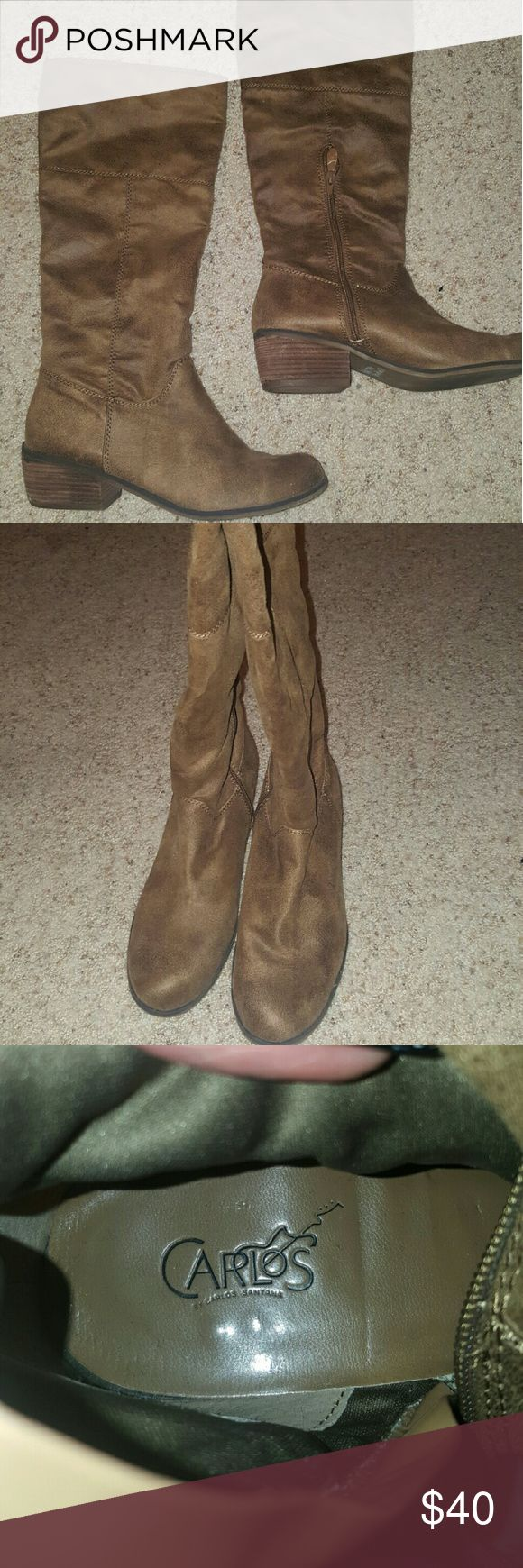 """Tan/Taupe boots These are Carlos by Carlos Santana boots """"Augusta"""" size 9, no scuffs or tares. Great condition! And I definitely trade so just ask 😀 Carlos Santana Shoes"""
