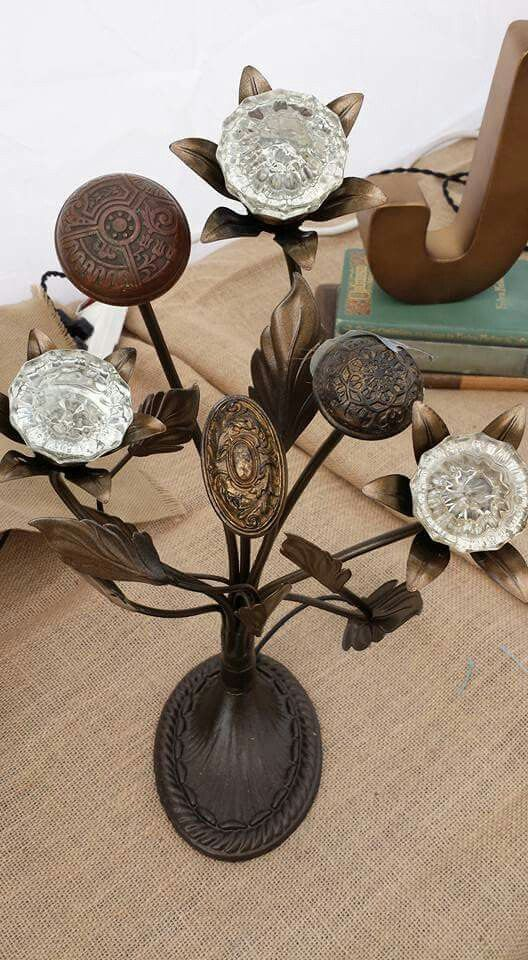Fabulous lighting with early 1900's doorknobs and other artifacts The glass doorknobs are lit by long life LEDs, they glow beautifully !    Find us on Facebook https://m.facebook.com/Jack-Riley-Lighting-and-Metal-Works-673299022759147/