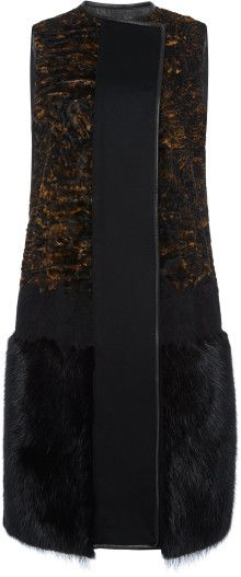 Ferragamo Sleeveless Wool Cashmere Vest with Fur Trim - Lyst