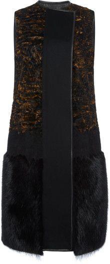 Ferragamo Sleeveless Wool Cashmere Vest with Fur Trim - Lyst