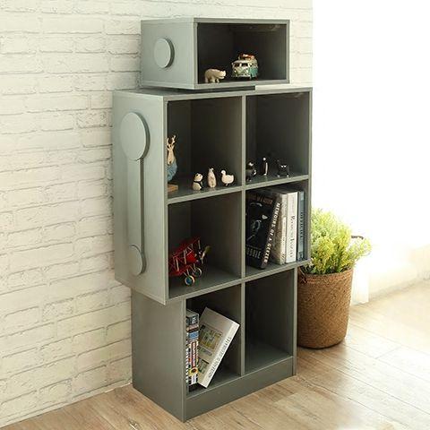 简约现代书柜书架置物架简易柜子儿童储物柜实木创意机器人书橱-淘宝网