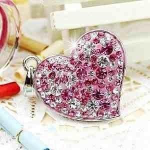Pendrive naszyjnik lilowe serce
