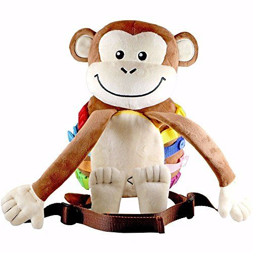 Busy Kids Buckle Plush Monkey Backpack Toy - Zippers, laces, snaps, buttons - Great for airplane travel, car and home - Toddlers 3, 4 and 5 year old boys or girls  SUMMER SALE! 33%% OFF - Save $10! ACT FAST!  Over a Dozen Interactive Straps, Buckles, Zippers & More  Well Designed, Soft and Sized for Toddlers - Small Pocket to Hold Little Items  Teaches Children Skills Such as Tying Laces  Perfect for Keeping Your Toddler Engaged