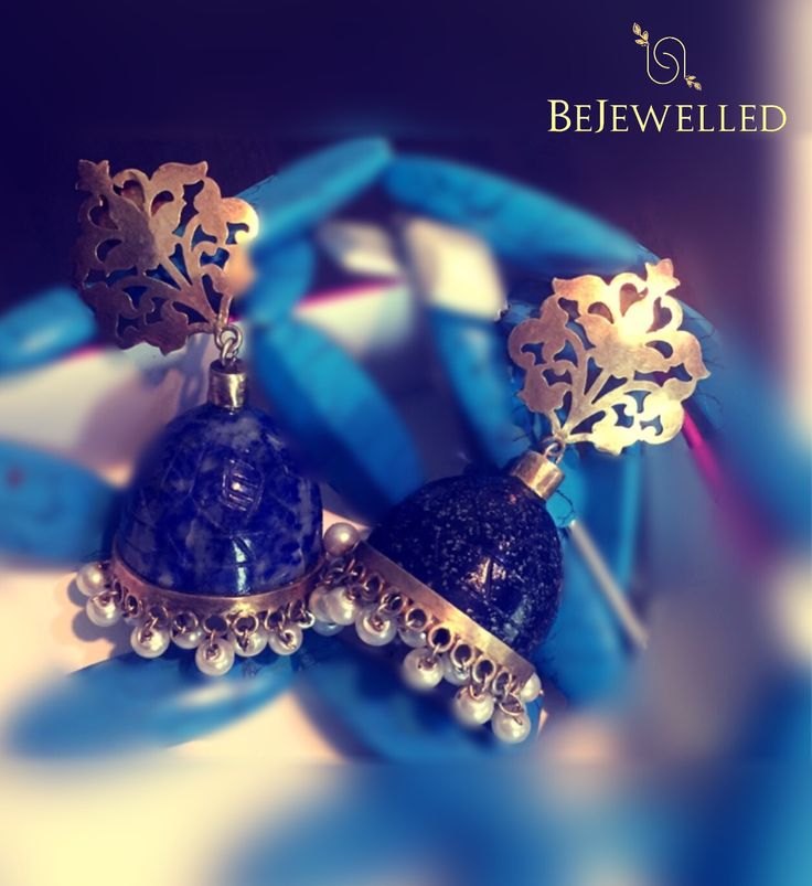 One of a kind gold Lapis lazuli jhumka with gold filigree work ....