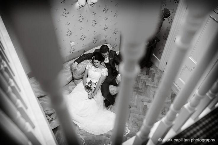 Bride & groom sitting relaxed indoors Castle Dargan Ireland wedding photographer Sligo