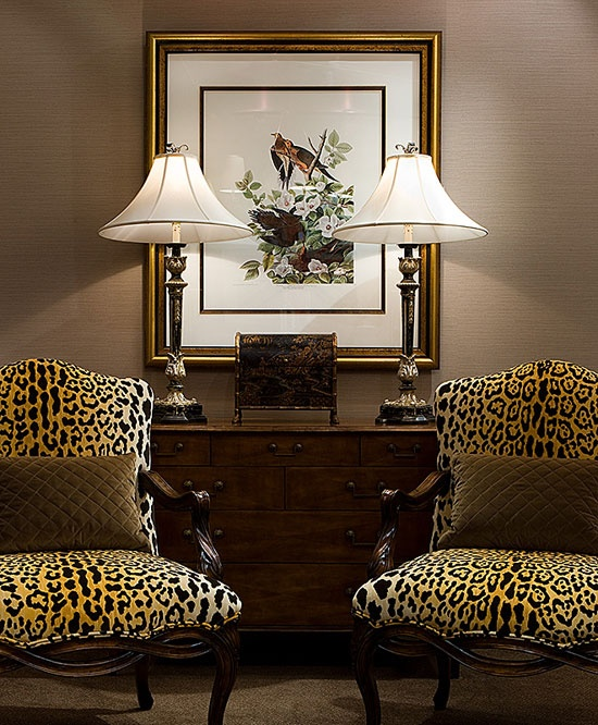 Great Pair Of Chairs Covered In Leopard Velvet.