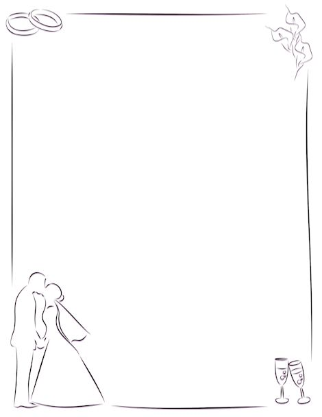 Simple border featuring line art rings, bride and groom, and other wedding-theme… – Muse Printables