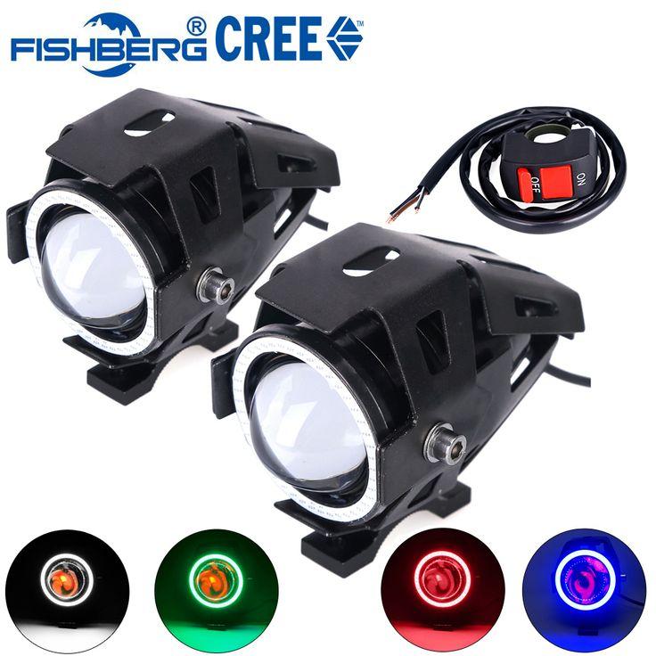 2 pcs Motorcycle LED Headlight Fog Light Dengan Beralih CREE LED Chip U7 125 W 3000LM Iblis Malaikat Eye DRL Daytime Running Cahaya Spot