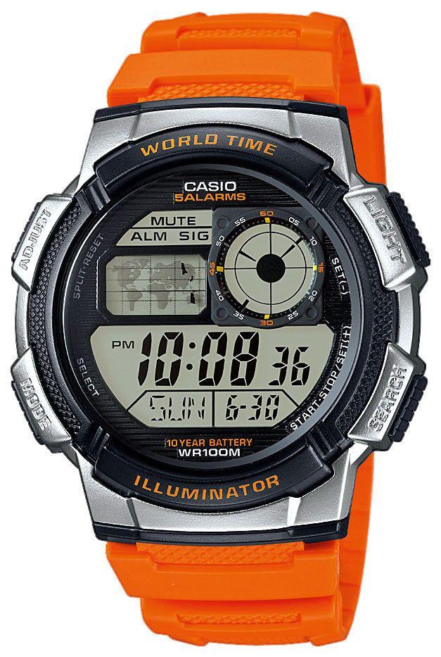 b9f87af25a8 Casio Digital Uhr World Time AE-1000W-4BVEF orange https   www.uhren ...