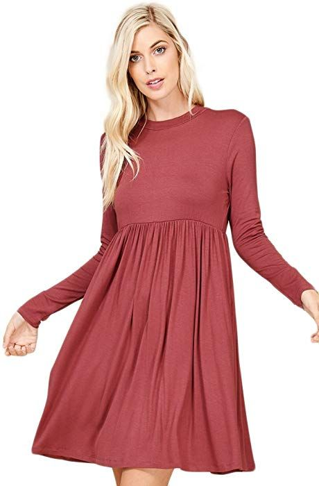 d09f4b1bc50 Annabelle Women s Classic High-Neckline Long Sleeve Pleated Babydoll Dress  With Pockets Dark Red Small D5256 at Amazon Women s Clothing store