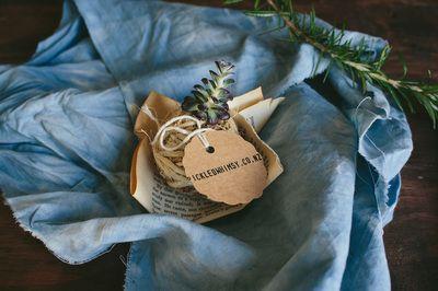 Indigo linen gift wrap
