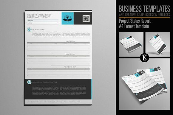 Project Status Report A4 Format by Keboto on @creativemarket