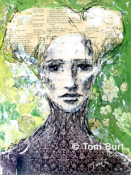 """""""be who you are"""" mixed media on canvas, collage, vine charcoal, vintage wallpaper, pastels. By Toni Burt"""