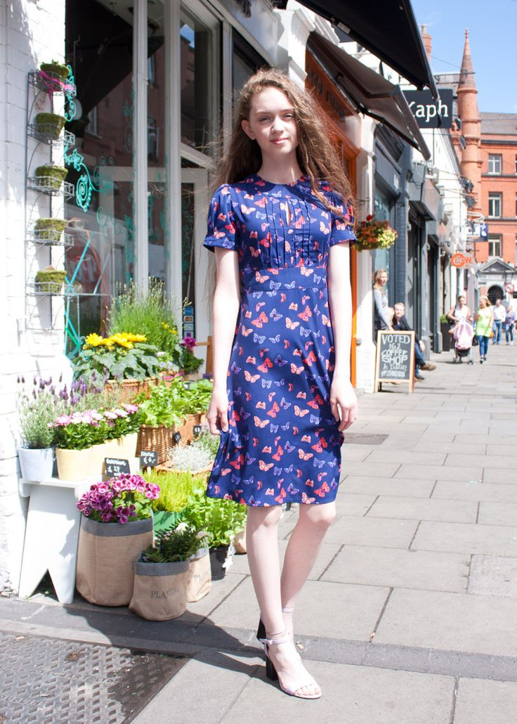 This butterfly Vivien dress from Circus sets our hearts a' flutter! #circus #vintage #style #dress #1940s #retro #dublin #street #fashion #TeaDress #butterfly