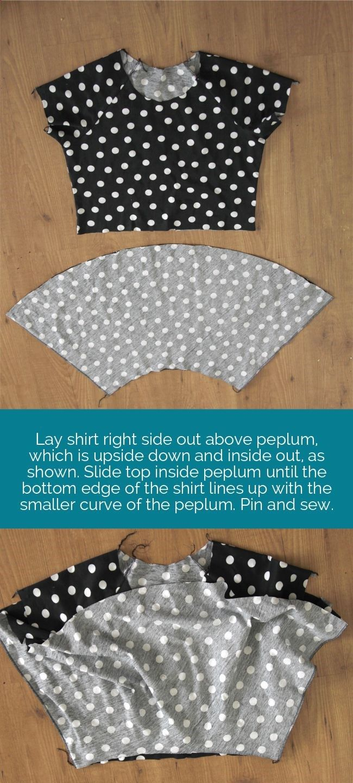 Thorough step-by-step description of how to make a peplum skirt or dress