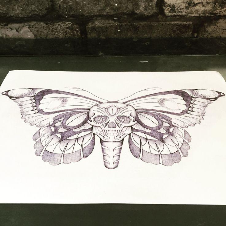 Skull butterfly drawing. Tattoo design.