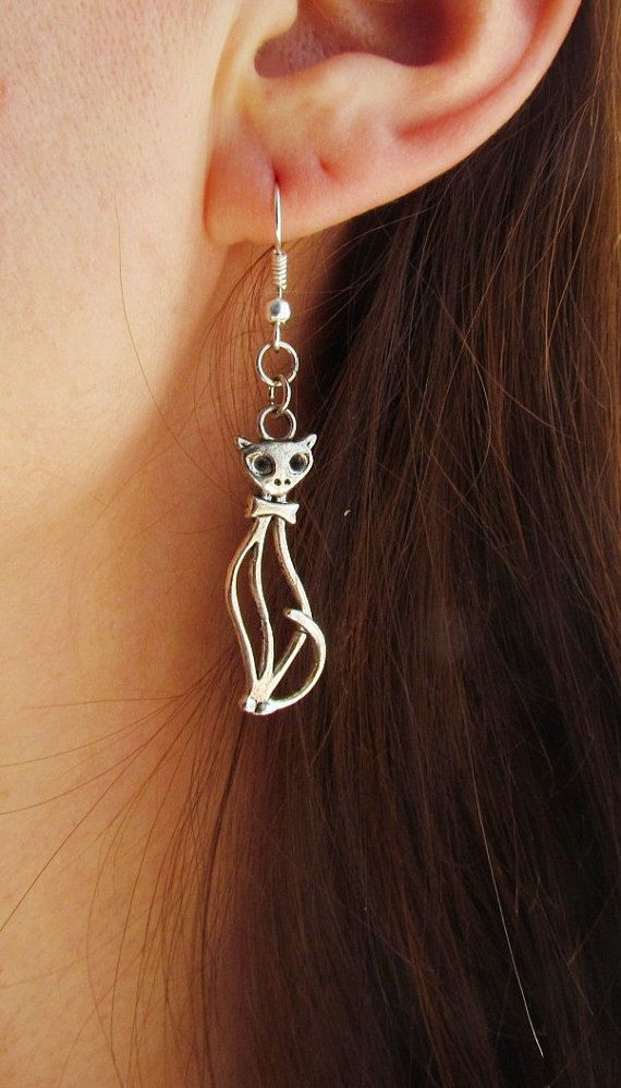Silver cat earrings Cute charm animal от Lovelyblackpanther