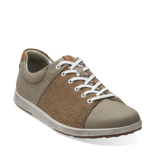 Norwin Style Olive Canvas - Men's Oxfords and Lace Up Shoes - Clarks