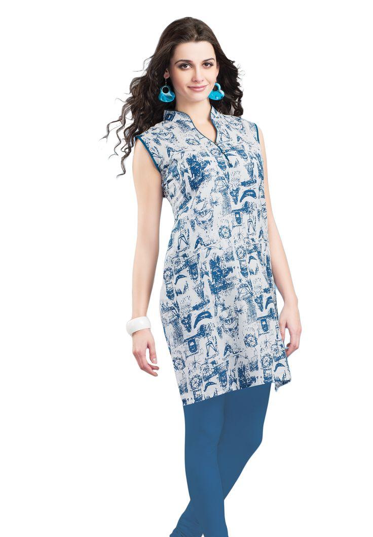 #Blue&White #Kurti #Casualwear #Officewear #Occasionalwear buy at salwarstudio.com