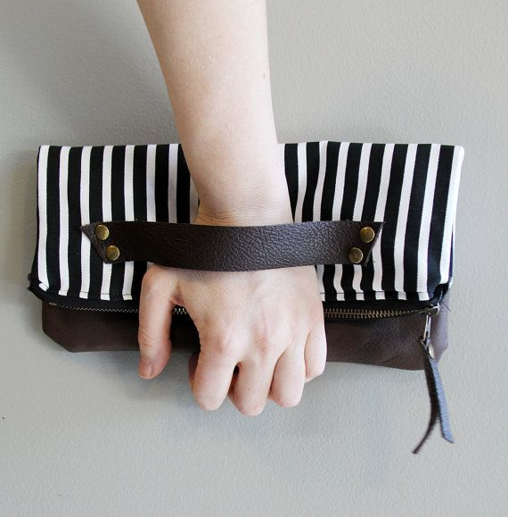 Black, White and Brown Striped  by AngelaDesign on Etsy